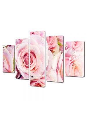 Set Tablouri Multicanvas 5 Piese Flori Trandafiri rozalii