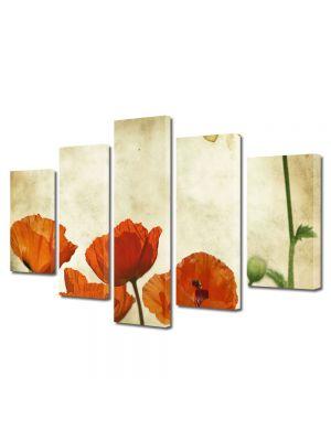 Set Tablouri Multicanvas 5 Piese Flori Maci stilizati