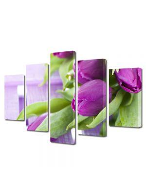 Set Tablouri Multicanvas 5 Piese Flori Buchet de lalele
