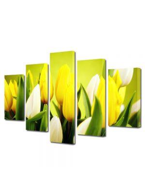 Set Tablouri Multicanvas 5 Piese Flori Lalele albe si galbene