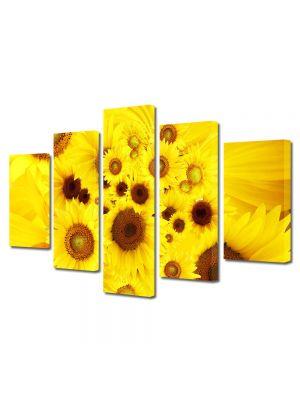 Set Tablouri Multicanvas 5 Piese Flori Pui de floarea soarelui