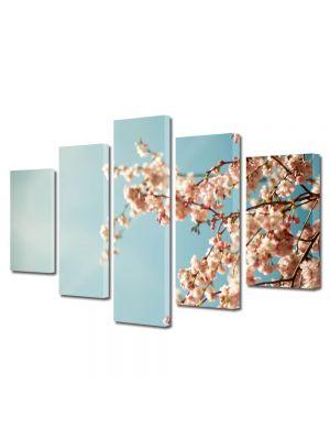 Set Tablouri Multicanvas 5 Piese Flori Crengura cu lfori albe