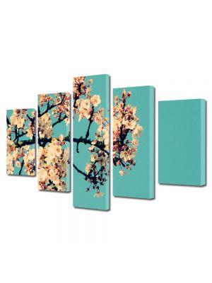 Set Tablouri Multicanvas 5 Piese Flori Creanga cu flori albe