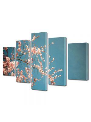 Set Tablouri Multicanvas 5 Piese Flori Crenguta inflorita