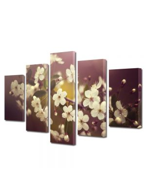 Set Tablouri Multicanvas 5 Piese Flori Crenguta alba