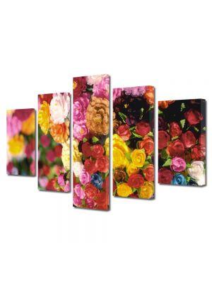 Set Tablouri Multicanvas 5 Piese Flori Multitudine de culori