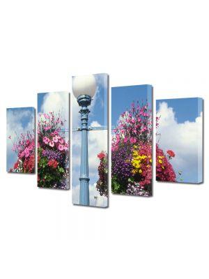 Set Tablouri Multicanvas 5 Piese Flori Aranjamente florale stradale