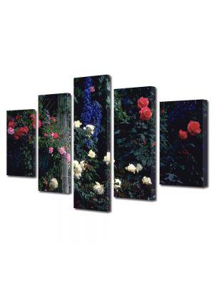 Set Tablouri Multicanvas 5 Piese Flori In gradina cu flori