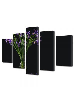 Set Tablouri Multicanvas 5 Piese Flori Flori mov in vaza