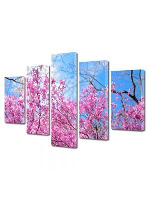 Set Tablouri Multicanvas 5 Piese Flori Ciresi infloriti