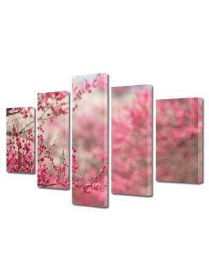 Set Tablouri Multicanvas 5 Piese Flori Livada cu copaci infloriti