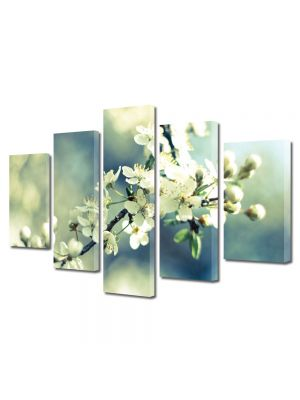 Set Tablouri Multicanvas 5 Piese Flori Crenguta de copacel