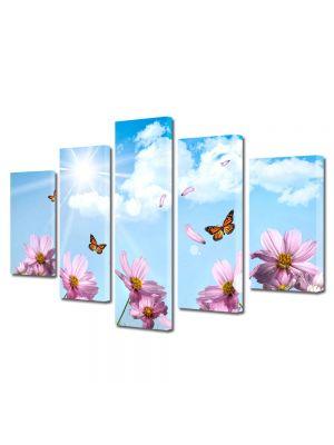 Set Tablouri Multicanvas 5 Piese Flori Fluturi si flori de primavara
