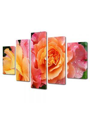 Set Tablouri Multicanvas 5 Piese Flori Trandafiri in gradina