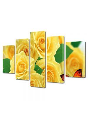 Set Tablouri Multicanvas 5 Piese Flori Trandafiri galbeni si fluturi