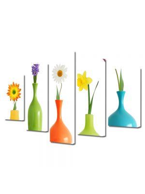 Set Tablouri Multicanvas 5 Piese Flori Flori in vaza
