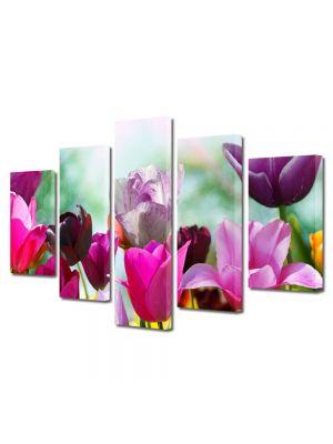 Set Tablouri Multicanvas 5 Piese Flori Lalele Violet