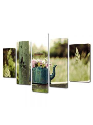 Set Tablouri Multicanvas 5 Piese Flori Flori in ibric