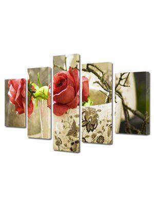 Set Tablouri Multicanvas 5 Piese Flori Trandafiri in cana 70 x 125 cm - 44% reducere