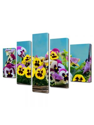 Set Tablouri Multicanvas 5 Piese Flori Flori in cos