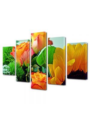 Set Tablouri Multicanvas 5 Piese Flori Aranjament floral special