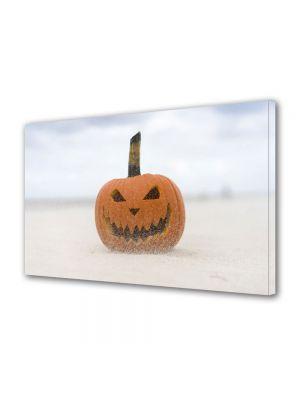 Tablou Canvas Halloween Dovleac sculptat pe plaja