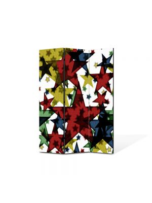 Paravan de Camera ArtDeco din 3 Panouri Abstract Decorativ Stele 105 x 150 cm