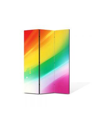Paravan de Camera ArtDeco din 3 Panouri Abstract Decorativ Culorile curcubeului 105 x 150 cm