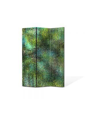 Paravan de Camera ArtDeco din 3 Panouri Abstract Decorativ Verde scurs 105 x 150 cm