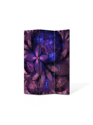 Paravan de Camera ArtDeco din 3 Panouri Abstract Decorativ Flori violet 105 x 150 cm
