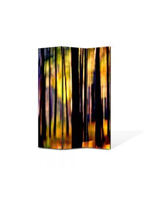 Paravan de Camera ArtDeco din 3 Panouri Abstract Decorativ In padure 105 x 150 cm