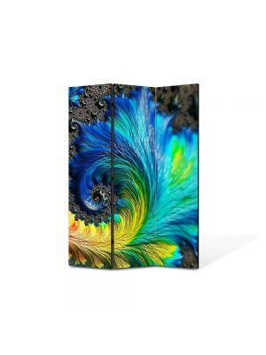 Paravan de Camera ArtDeco din 3 Panouri Abstract Decorativ Pana colorata 105 x 150 cm
