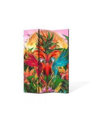 Paravan de Camera ArtDeco din 3 Panouri Abstract Decorativ Gradina abstracta 105 x 150 cm
