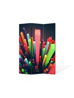 Paravan de Camera ArtDeco din 3 Panouri Abstract Decorativ Zgarie nori abstracti 105 x 150 cm