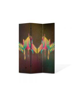 Paravan de Camera ArtDeco din 3 Panouri Abstract Decorativ Unde colorate 105 x 150 cm