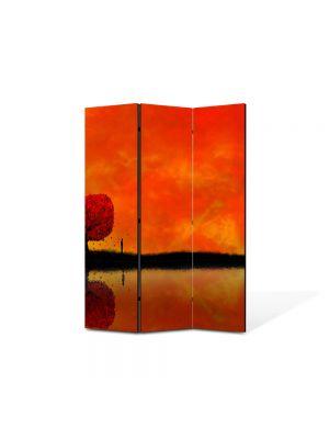 Paravan de Camera ArtDeco din 3 Panouri Abstract Decorativ Amurg 105 x 150 cm