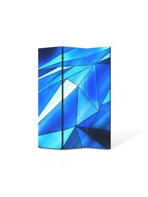 Paravan de Camera ArtDeco din 3 Panouri Abstract Decorativ Triunghiuri albastre 105 x 150 cm