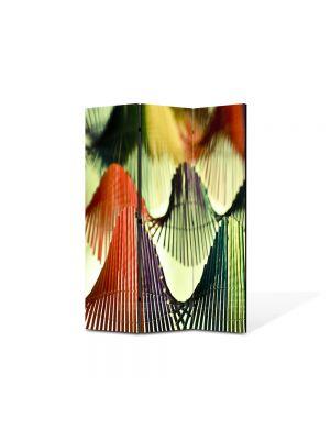 Paravan de Camera ArtDeco din 3 Panouri Abstract Decorativ Corzi 105 x 150 cm