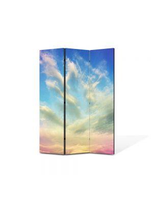 Paravan de Camera ArtDeco din 3 Panouri Abstract Decorativ Cerul 105 x 150 cm