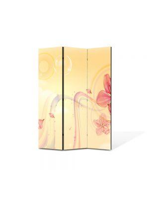 Paravan de Camera ArtDeco din 3 Panouri Abstract Decorativ Floare 105 x 150 cm