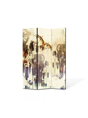 Paravan de Camera ArtDeco din 3 Panouri Abstract Decorativ Mecanic 135 x 180 cm