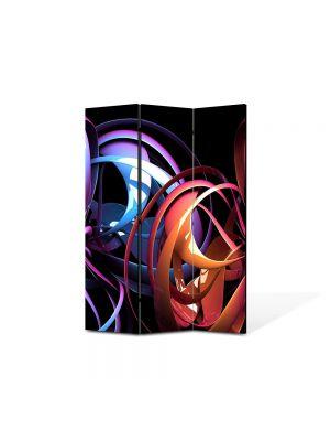 Paravan de Camera ArtDeco din 3 Panouri Abstract Decorativ Carusel de culori 105 x 150 cm