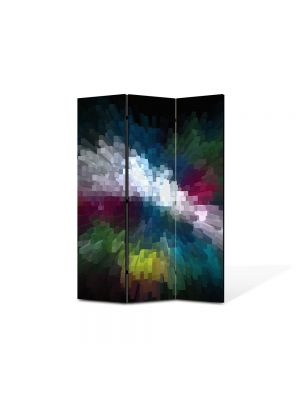 Paravan de Camera ArtDeco din 3 Panouri Abstract Decorativ Distorsionat 105 x 150 cm