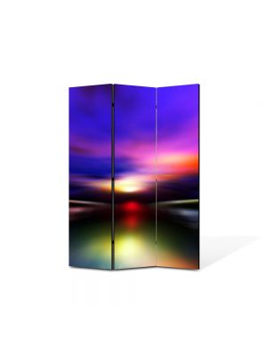 Paravan de Camera ArtDeco din 3 Panouri Abstract Decorativ Aurora Boreala 105 x 150 cm