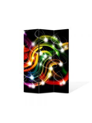 Paravan de Camera ArtDeco din 3 Panouri Abstract Decorativ Sirag de lumini 105 x 150 cm