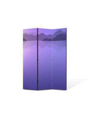 Paravan de Camera ArtDeco din 3 Panouri Abstract Decorativ Peisaj Violet 105 x 150 cm
