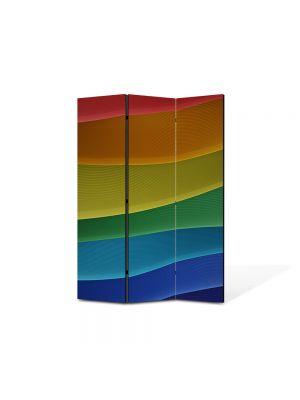 Paravan de Camera ArtDeco din 3 Panouri Abstract Decorativ Dealuri colorate 105 x 150 cm