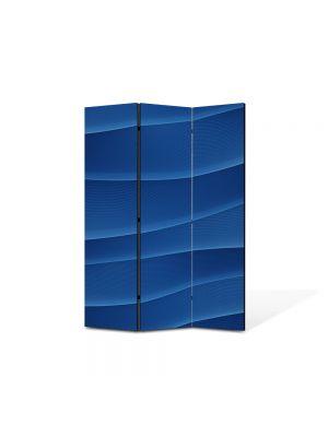 Paravan de Camera ArtDeco din 3 Panouri Abstract Decorativ Dealuri albastre 105 x 150 cm