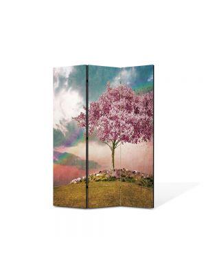Paravan de Camera ArtDeco din 3 Panouri Abstract Decorativ Copac roz 105 x 150 cm