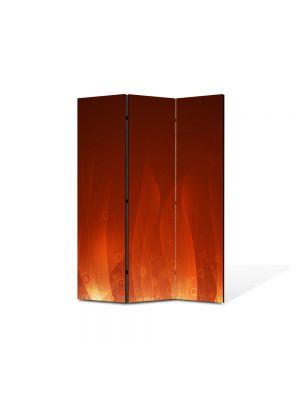 Paravan de Camera ArtDeco din 3 Panouri Abstract Decorativ Flacari 105 x 150 cm